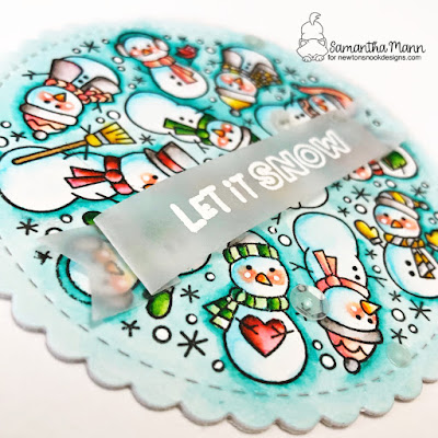 Let it Snow Card by Samantha Mann for Newton's Nook Designs, Shaped Card, Watercolor, Christmas, Christmas Cards, Handmade Cards, snowmen #newtonsnook #cards #christmas #snowmen #shapedcard
