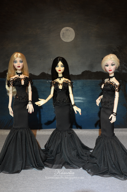 Black beaded gown for dolls