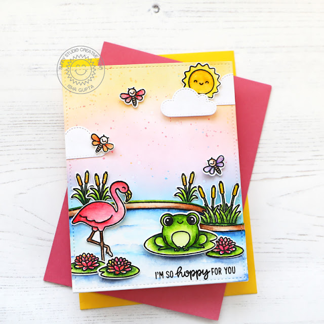 Sunny Studio Stamps: Feeling Froggy Country Scenes Fluffy Cloud Dies Everyday Card by Isha Gupta