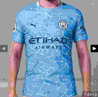 kostum desain jersey man city terbaru musim 2020-2021 ini adalah gambar ringan