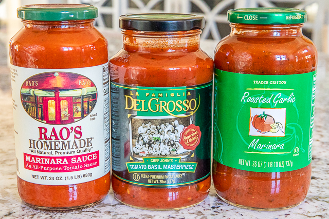 photo of three jarred spaghetti sauces