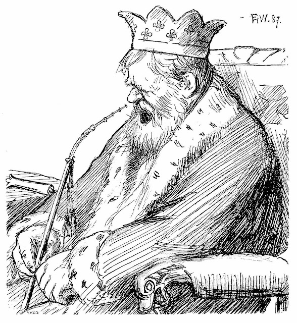 a Peter Christen Asbjørnsen 1909 illustration of a tired old king