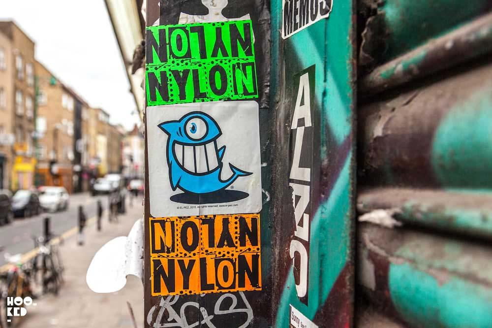 Street Artist Pez stickers in Shoreditch, London