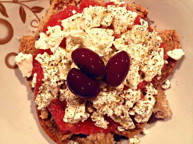 Ioanna's Notebook - Cretan Ntakos (rusks with tomatoes and feta cheese)