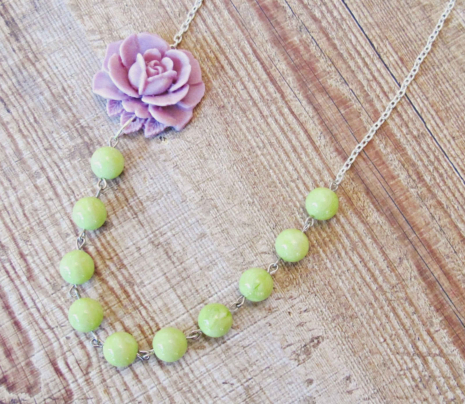 image hollin asymmetrical necklace two cheeky monkeys avocado green lilac purple mauve rose flower vintage beads lucite