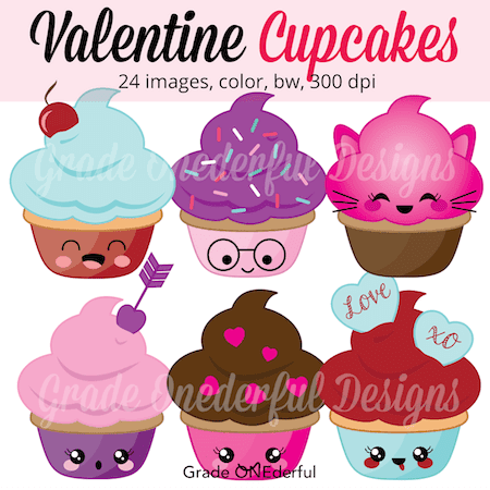 Valentine Clip Art: Kawaii Cupcakes. These adorable Kawaii cupcakes are 8 inches wide! There are SO many uses for them, including bulletin boards, stickers, worksheets, games, Valentine cards, posters, graphing ... you name it!  They not only come in color AND black & white, but you have a choice of faces and no faces.