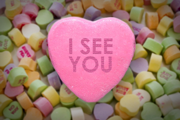 image of a candy heart reading 'I SEE YOU'