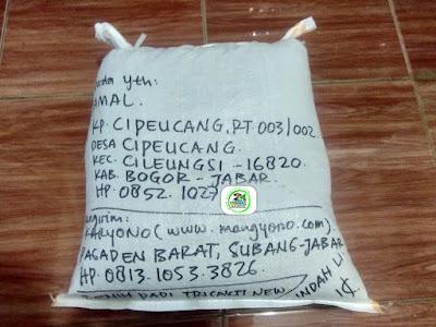 Benih padi yang dibeli   KARMA WIJAYA Bogor, Jabar.  (Setelah packing karung ).