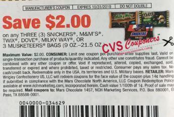 $2.00/3 Mars  Wrigley Snickers, M&m's, Twix, Dove, Milkyway