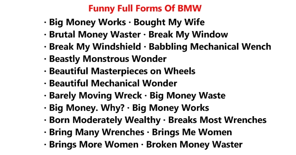 funny full forms of bmw