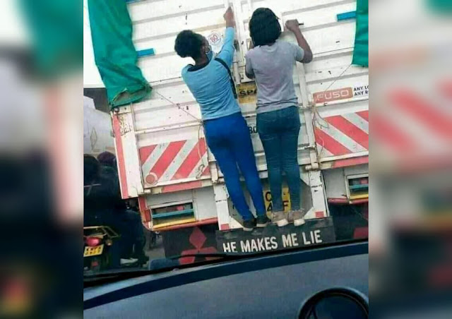 Girlfriend on a lorry to boyfriends house