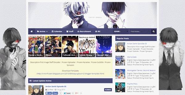 Anime Like Fanshare Redesign From Template Tokyo Ghoul V1 With Very Easy Change Background Custom Box And Another Awesome Feature