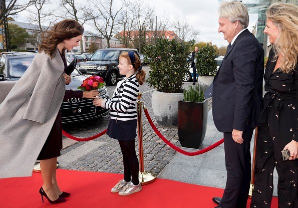 Crown Princess Mary wore Joseph double cashmere oslo coat and Prada purple bicolor suede cutout point toe pumps, Carlend Copenhagen Vanessa