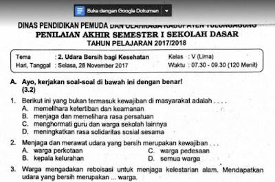 Soal Ulangan Tema 2 Kelas 5 SD Kurikulum 2013