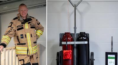 Ulf Eliasson och gasflaskor med TKI-utrustning.