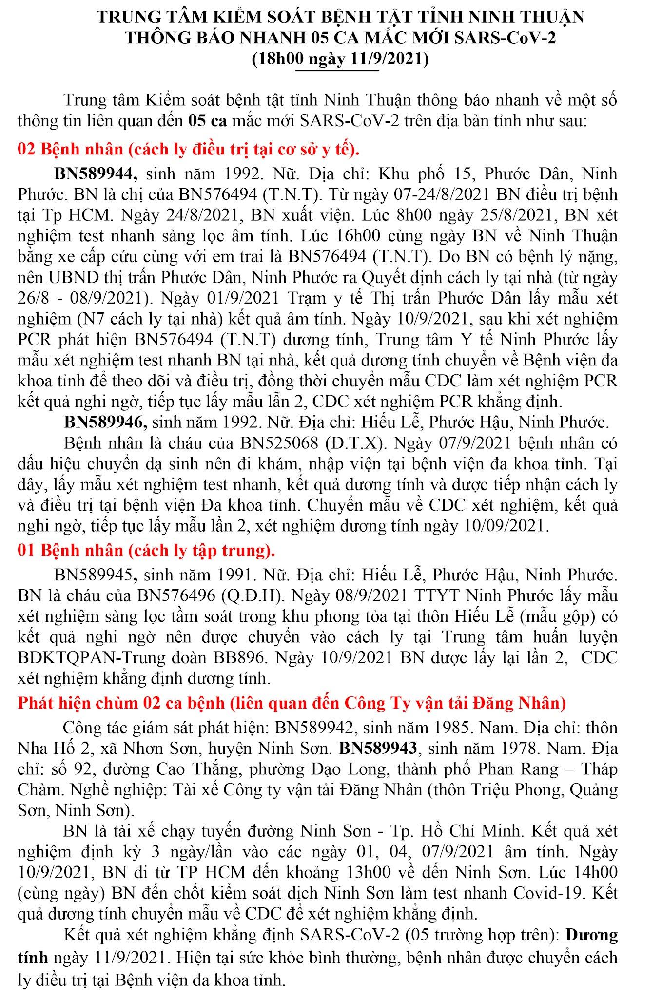 Ngày 11-9 Ninh Thuận ghi nhận 5 ca nhiễm Covid-19 mới