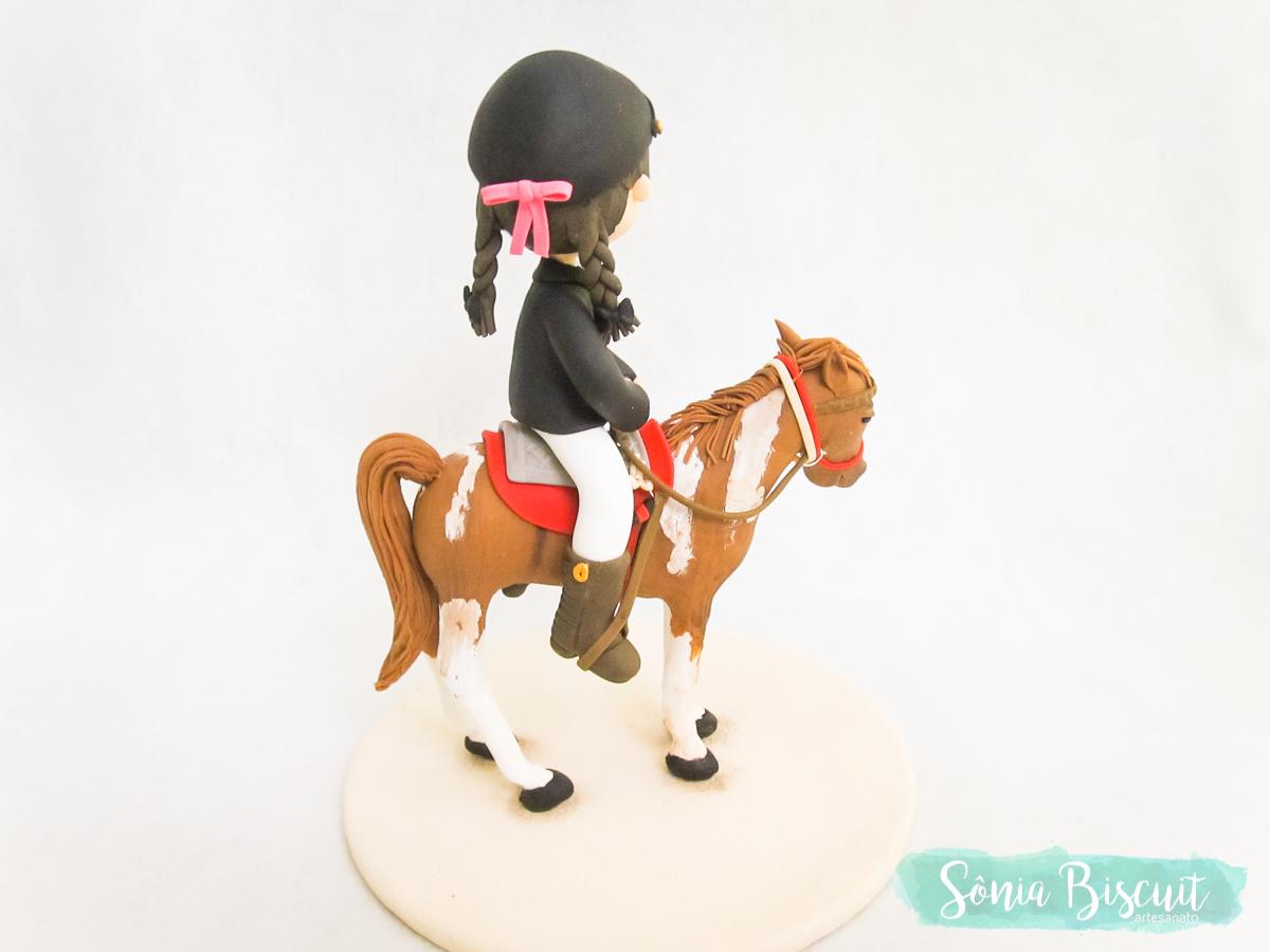 Topo de Bolo, Biscuit, Sonia Biscuit, Cavalo, Joquei, Menina, Menininha