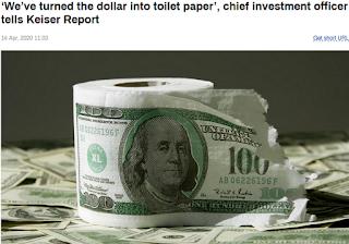 미국 달러 몰락 : 달러 화장실 휴지