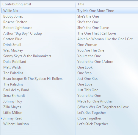 Blues Moon Radio playlist Together As One May 27, 2014