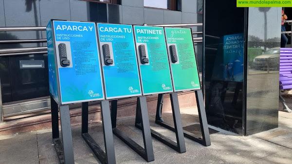 El Cabildo instala el primer punto público de recarga de patinetes eléctricos en la Isla