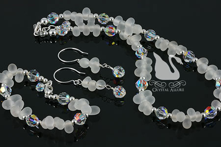 Shimmering Frosted Drops Crystal Beaded 3-pc Jewelry Set (N082)