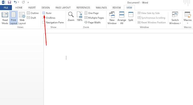 Buka Microsoft Word lalui aktifkan Ruler untuk membuat daftar isi