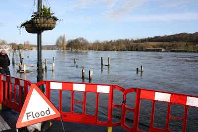 The river Thames bursts its banks