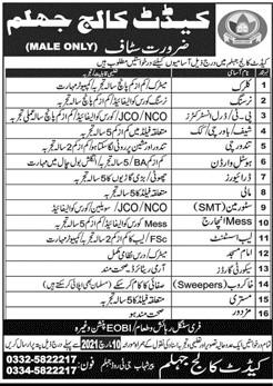 Cadet College Jhelum Jobs 2021 in Pakistan - Army College Jobs 2021 - Nursing Jobs 2021 - Clerk Jobs 2021 - Imam Masjid Jobs 2021 - Security Guards Jobs 2021
