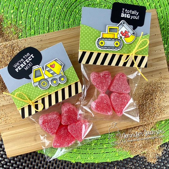 Newton's Nook Designs Sweet Treats Blog Hop! Treat toppers by Jennifer Jackson using the Love Quarry Stamp Set, Speech Bubble Die Set and Land Borders Die Set by Newton's Nook Designs #newtonsnook #handmade