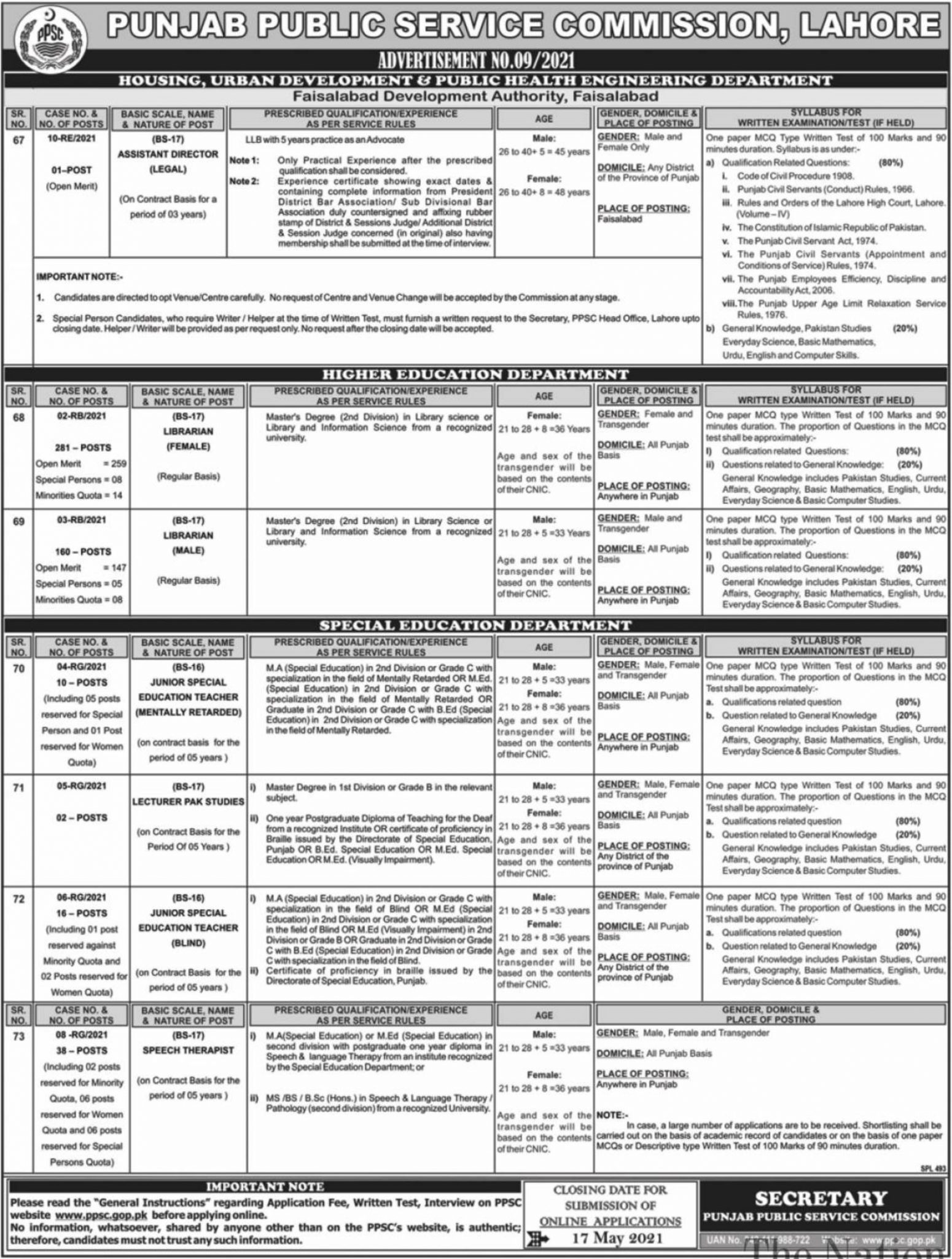 Latest Punjab Public Service Commission PPSC  Librarian Jobs Advertisement 2021