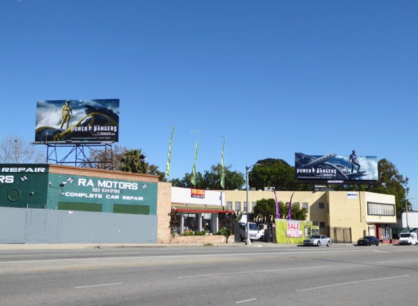 Power Rangers movie billboards La Brea Avenue