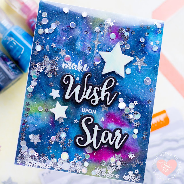 Tonic Shaker Creator Pockets,Frameless Shaker Card,Make a Wish Frameless Shaker Card,Tonic Studios,Card Making, Stamping, Die Cutting, handmade card, ilovedoingallthingscrafty, Stamps, how to,  Shoot for the Stars