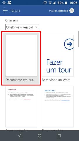 Escolha a opção: Documento em Branco