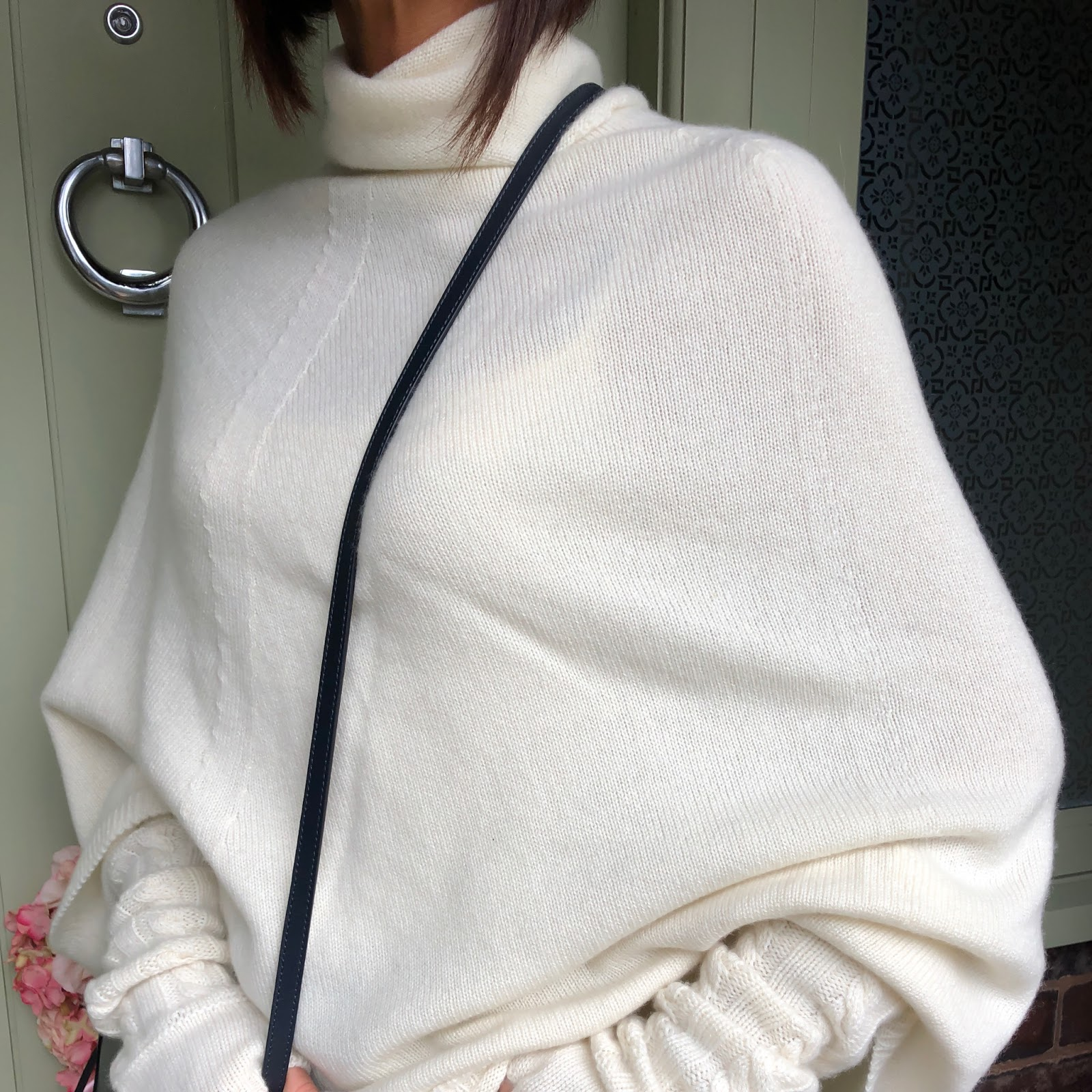 my midlife fashion, italy in cashmere cream white pure cashmere roll neck poncho cape