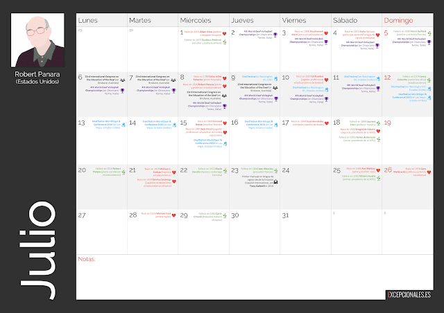 Calendario Excepcionales Julio 2020