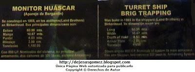 Descripción del Monitor Huáscar en español e inglés. Foto de Jesus Gómez