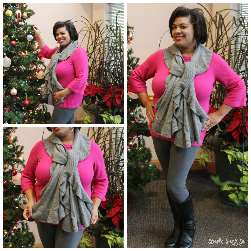 Everyday Mom Style Hot Pink Sweater Grey Leggings Stacie Raye