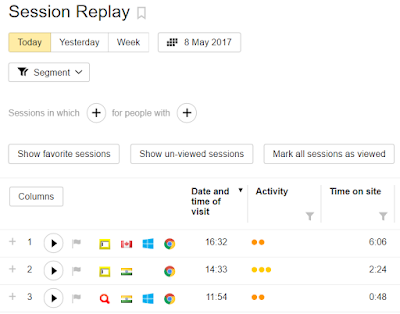 Session Replay feature Yandex Metrica