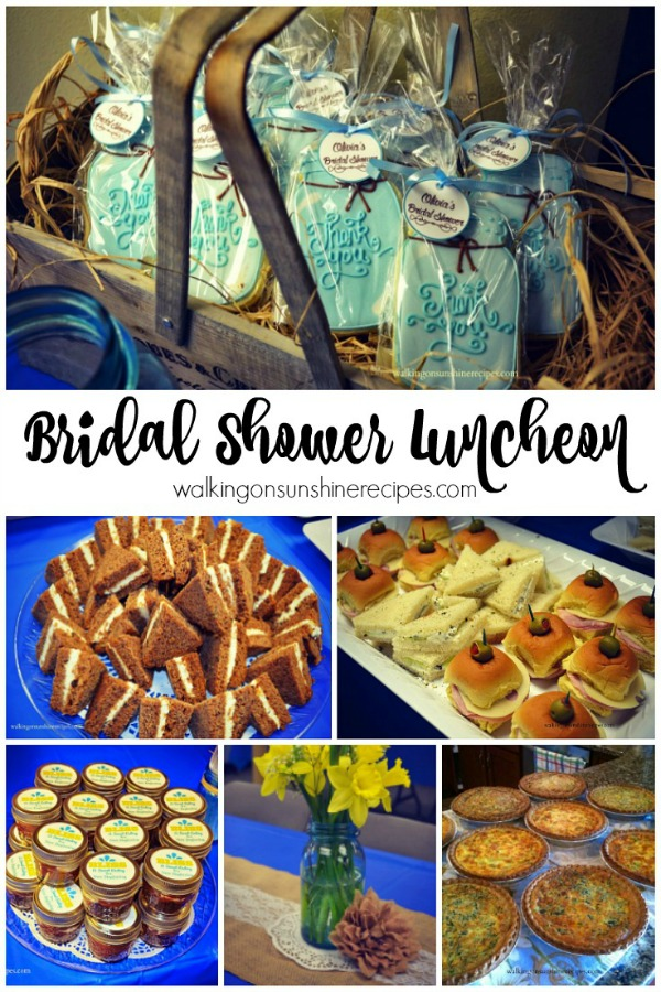 The perfect bridal shower luncheon menu from Walking on Sunshine.