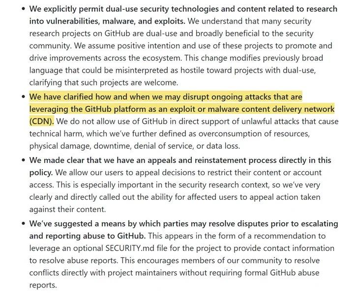 Chính sách cập nhật GitHub để loại bỏ mã khai thác khi được sử dụng trong các cuộc tấn công