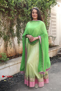 Actress Sonia Agarwal Stills in Green Anarkali Dress at Agalya Tamil Movie Launch  0013.jpg