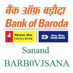 Vijaya Baroda Sanand Branch Ahmedabad New IFSC
