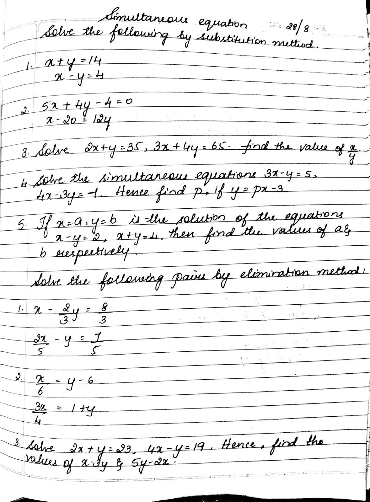 Icse 9 Simultaneous Equations 28 8 E