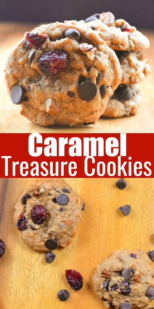 Caramel Chocolate Cranberry Treasure Cookies recipe are a egg free cookie loaded with graham cracker crumbs, coconut, dark chocolate, and dried cranberries from Serena Bakes Simply From Scratch.
