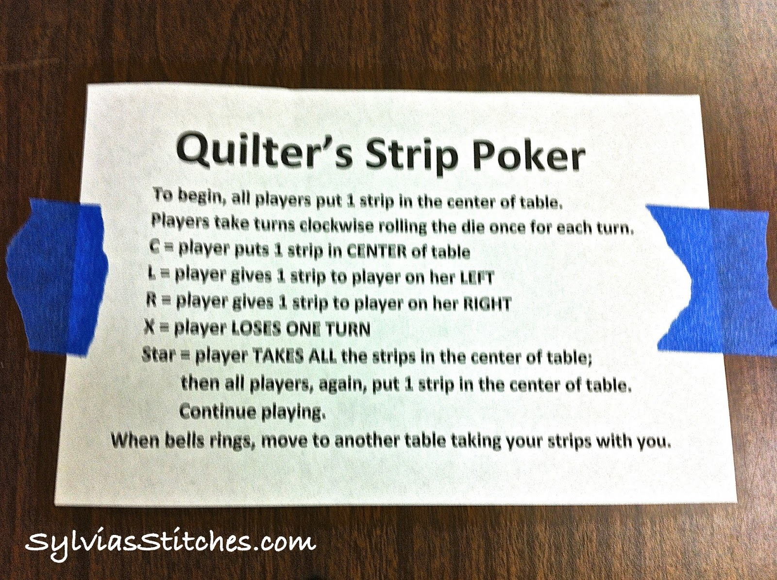 Rule for strip game