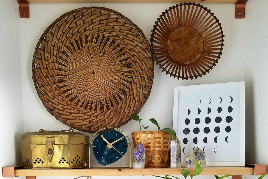 Check Out This Boho Bathroom Shelfie Inspo With Crystals And Baskets - Designed By The Boho Abode