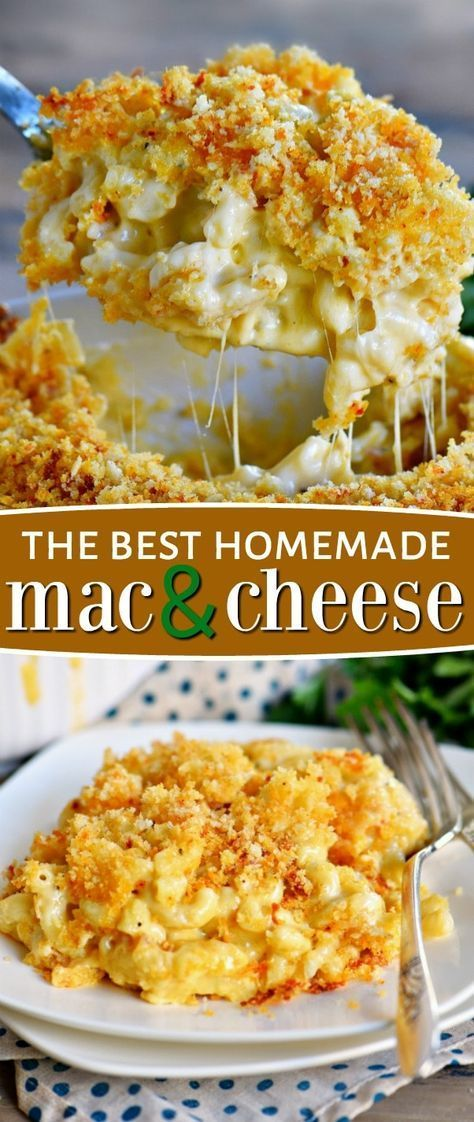 The BEST Homemade Mac and Cheese of your LIFE. Outrageously cheesy, ultra creamy, and topped with a crunchy Panko-Parmesan topping, this mac and cheese recipe is most definitely a keeper. I used three different cheese and a homemade cheese sauce to take this macaroni and cheese recipe over the top.