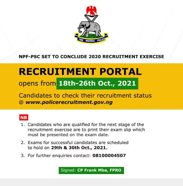 2021 Nigeria Police Force Recruitment Online Form | www.policerecruitment.gov.ng