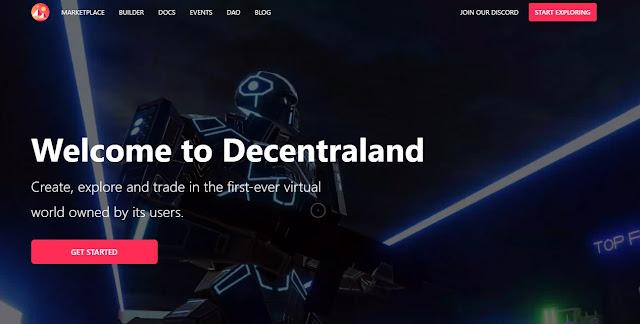 Screenshot Halaman Website Decentraland