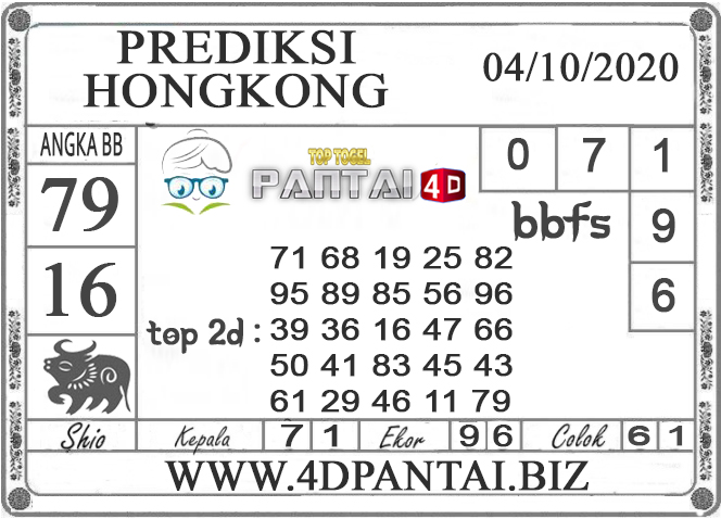 PREDIKSI TOGEL HONGKONG PANTAI4D 04 OKTOBER 2020